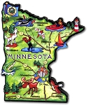 Minnesota The Land of Lakes State Artwood Jumbo Fridge Magnet