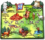 Wyoming the Cowboy State Artwood Jumbo Fridge Magnet