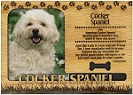 Cocker Spaniel Engraved Wood Picture Frame Magnet