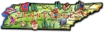 Tennessee The Volunteer State Artwood Jumbo Fridge Magnet