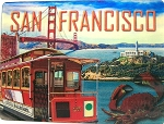 San Francisco with Trolley and Crab 3D Postcard