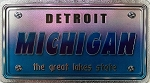 Detroit Michigan The Great Lakes State Foil Panoramic Dual Sided Fridge Magnet