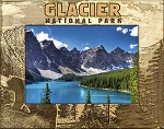 Glacier National Park with Bear Laser Engraved Wood Picture Frame