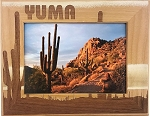 Yuma Arizona with Desert Clouds Laser Engraved Wood Picture Frame