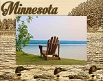 Minnesota with Ducks Laser Engraved Wood Picture Frame