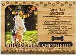 Australian Shepherd Dog Engraved Wood Picture Frame Magnet
