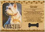 Westie Engraved Wood Picture Frame Magnet