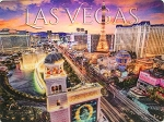 Las Vegas Strip above Bellagio Sign Twilight Strip 3D Postcard