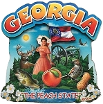 Georgia the Peach State Artwood Montage Fridge Magnet