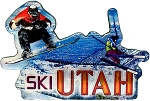 Ski Utah Jumbo Artwood Foil Fridge Magnet