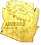 Arizona Laser Etched Wood Fridge Magnet