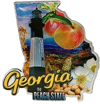 Georgia The Peach State Jumbo Artwood Foil Fridge Magnet