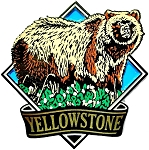 Yellowstone National Park with Grizzly Bear Fridge Magnet