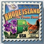 Rhode Island the Ocean State Artwood Postage Stamp Fridge Magnet