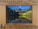Steamboat Colorado Elevation Laser Engraved Wood Picture Frame