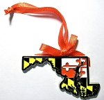 Maryland State Shaped Flag Design Metal Christmas Tree Ornament Design 10