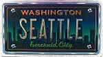 Seattle Washington The Emerald City Foil Panoramic Dual Sided Fridge Magnet