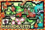 Massachusetts Cartoon Map Fridge Magnet