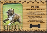 Pit Bull Engraved Wood Picture Frame Magnet