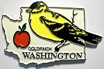Washington State Outline with Goldfinch Fridge Magnet Design 1