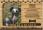 Chinese Crested Engraved Wood Picture Frame Magnet