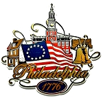 Philadelphia Pennsylvania 1776 with Flag Fridge Magnet