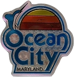 Ocean City Maryland with Dolphin Foil Design Fridge Magnet