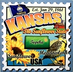 Kansas The Sunflower State Artwood Postage Stamp Fridge Magnet