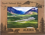 Denali National Park with Bear Laser Engraved Wood Picture Frame