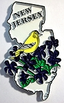 New Jersey State Outline with American Goldfinch and Flowers Fridge Magnet Design 1