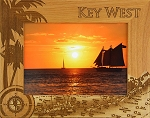 Key West Florida with Map Laser Engraved Wood Picture Frame