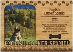 English Cocker Spaniel Engraved Wood Picture Frame Magnet