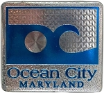 Ocean City Maryland Blue Wave Foil Design Fridge Magnet