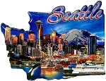 Seattle Washington Jumbo Artwood Foil Fridge Magnet