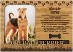 Airedale Terrier Engraved Wood Picture Frame Magnet