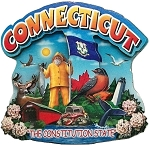 Connecticut The Constitution State Artwood Montage Fridge Magnet