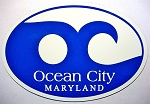 Ocean City Maryland Blue Wave Oval Car Magnet Design 10