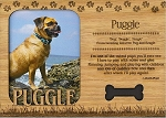Puggle Engraved Wood Picture Frame Magnet