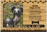 All My Dogs and Me Engraved Wood Picture Frame Magnet