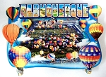 Albuquerque New Mexico With 6 Balloons Artwood Fridge Magnet Design 1