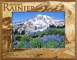 Mount Rainier Mt. Scene Laser Engraved Wood Picture Frame