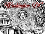 Washington D.C. Black and White Fridge Magnet