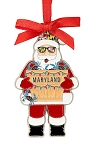 Maryland Santa Claus Metal Christmas Tree Ornament