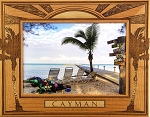 Cayman Islands with Palm Trees Laser Engraved Wood Picture Frame (5 x 7)