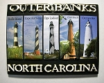 Outer Banks North Carolina with 5 Lighthouses Highlight Fridge Magnet