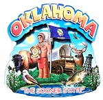 Oklahoma The Sooner State Artwood Montage Fridge Magnet