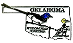 Oklahoma State Outline with Scissor-Tailed Flycatcher Fridge Magnet