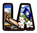 Louisiana The Pelican State Artwood Initial Fridge Magnet