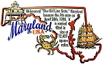 Maryland the Old State Line State Outline Montage Fridge Magnet
