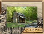 Gatlinburg Tennessee with Falls and Bear Laser Engraved Wood Picture Frame